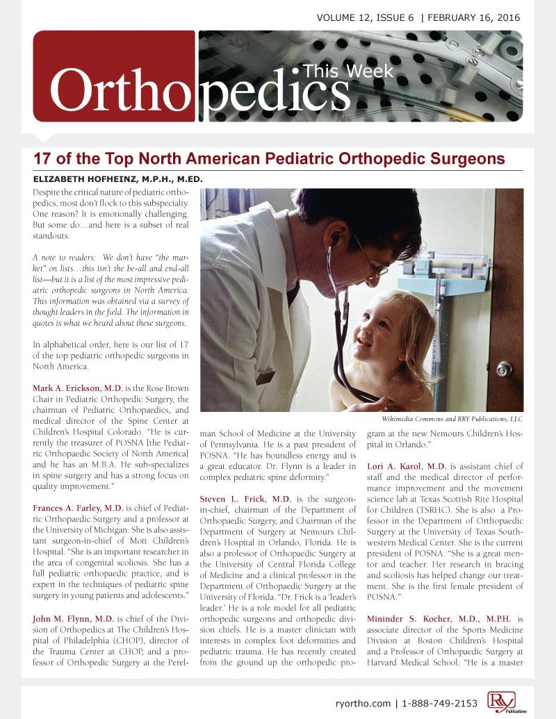 Top North American Pediatric Orthopedic Surgeons